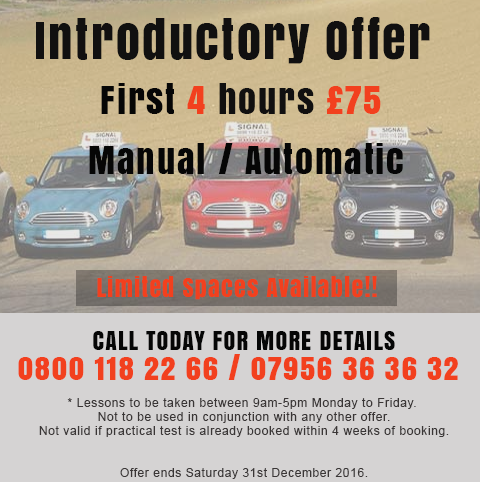 Croydon Driving Lessons Intro Offer December 2016