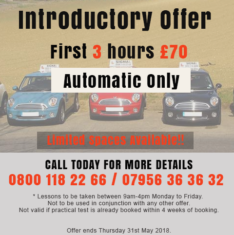Automatic Driving Lessons Special Offer Ends 31st May 2018