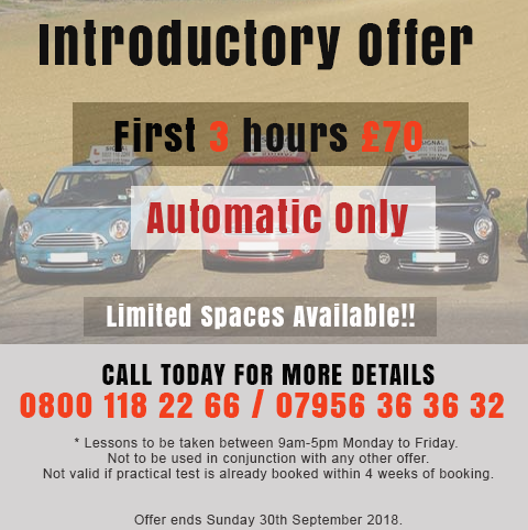 Automatic Driving Lessons Special Offer Ends 30th September 2018